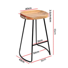 Load image into Gallery viewer, Artiss Set of 2 Wooden Backless Bar Stools - Natural