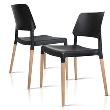 Load image into Gallery viewer, Artiss Set of 4 Wooden Stackable Dining Chairs - Black