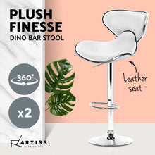 Load image into Gallery viewer, Artiss 2x Bar Stools DINO Kitchen Swivel Bar Stool Leather Gas Lift Chairs White