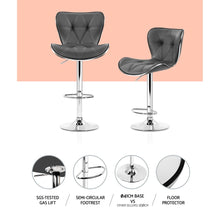 Load image into Gallery viewer, Artiss 2x Kitchen Bar Stools Gas Lift Stool Chairs Swivel Barstools Leather Grey