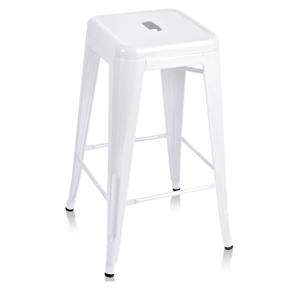 Artiss 4x Replica Tolix Bar Stools Metal Bar Stool Kitchen Cafe Chair 66cm White