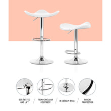 Load image into Gallery viewer, Artiss 2x Gas Lift Bar Stools Swivel Chairs Leather Chrome White