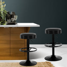 Load image into Gallery viewer, Artiss 2x Kitchen Bar Stools Gas Lift Bar Stool Chairs Swivel Barstools Black