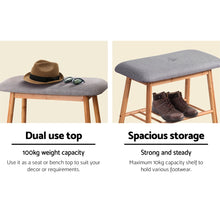 Load image into Gallery viewer, Artiss Shoe Rack Seat Bench Chair Shelf Organisers Bamboo Grey