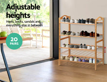 Load image into Gallery viewer, Artiss Bamboo Shoe Rack Organiser Wooden Stand Shelf 4 Tiers Shelves