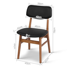 Load image into Gallery viewer, Artiss Set of 2 Wood & PVC Dining Chairs - Black