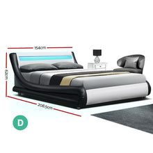 Load image into Gallery viewer, Artiss LED Bed Frame Double Full Size Base Mattress Platform Leather Wooden ALEX