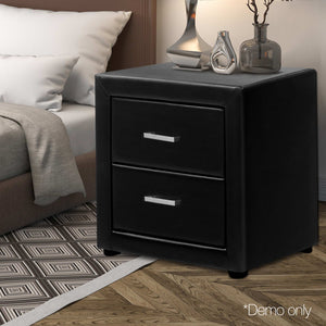 Artiss PVC Leather Bedside Table - Black