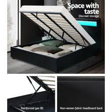 Load image into Gallery viewer, Artiss LED Bed Frame King Size Gas Lift Base With Storage Black Leather