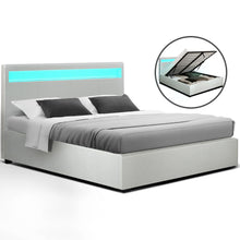 Load image into Gallery viewer, Artiss LED Bed Frame Queen Size Gas Lift Base With Storage White Leather