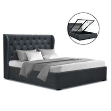 Load image into Gallery viewer, Artiss Double Full Size Gas Lift Bed Frame Base With Storage Mattress Charcoal Fabric Wooden