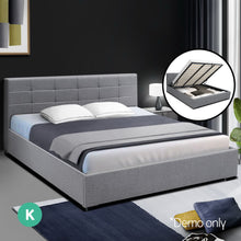 Load image into Gallery viewer, Artiss LISA King Size Gas Lift Bed Frame Base With Storage Mattress Grey Fabric