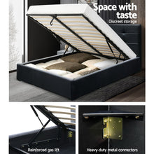 Load image into Gallery viewer, Artiss LISA Queen Size Gas Lift Bed Frame Base With Storage Mattress Black Leather