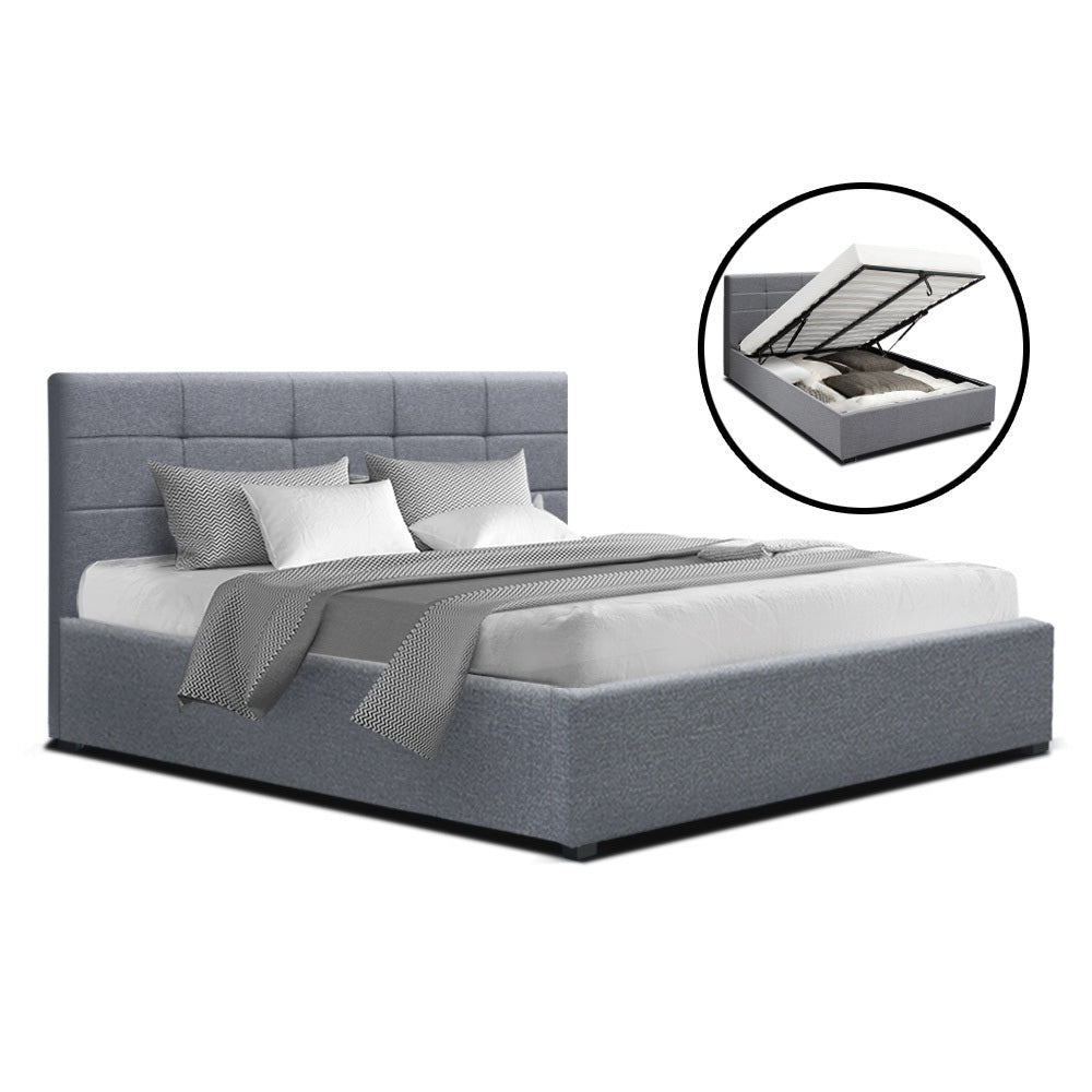 Artiss LISA Queen Size Gas Lift Bed Frame Base With Storage Mattress Grey Fabric