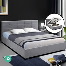 Load image into Gallery viewer, Artiss LISA Queen Size Gas Lift Bed Frame Base With Storage Mattress Grey Fabric