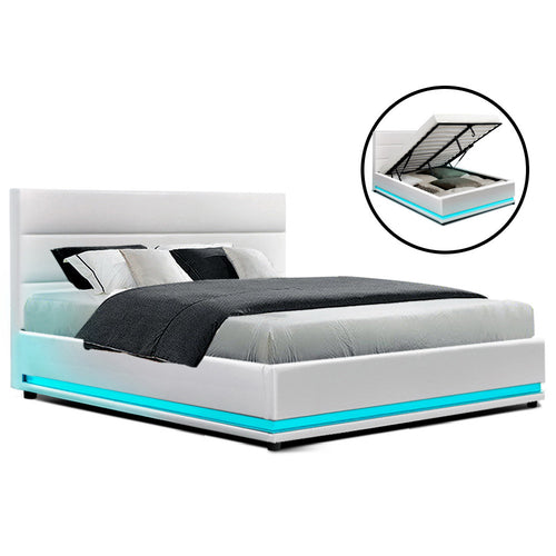 Artiss RGB LED Bed Frame Queen Size Gas Lift Base Storage White Leather LUMI