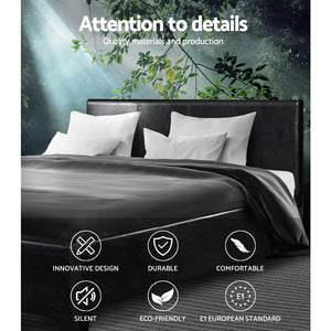 Artiss Double Size PU Leather Bed Frame Headboard - Black