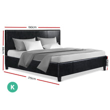 Load image into Gallery viewer, Artiss King Size Bed Frame Base Mattress Platform Leather Wooden Black NEO