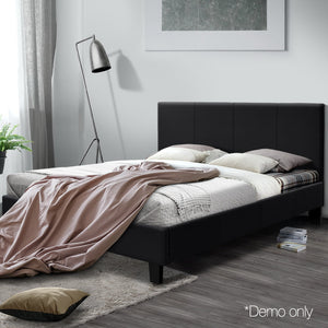 Queen Size Fabric Bed Frame - Charcoal