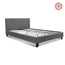Load image into Gallery viewer, Artiss Queen Size Fabric Bed Frame Headboard- Grey