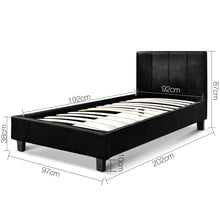 Load image into Gallery viewer, Artiss Single Size PU Leather Bed Frame Headboard - Black