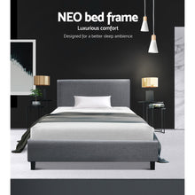 Load image into Gallery viewer, Artiss Single Size Bed Frame Base Mattress Platform Fabric Wooden Grey NEO