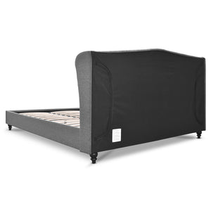 Artiss Double Size Wooden Upholstered Bed Frame Headborad - Grey