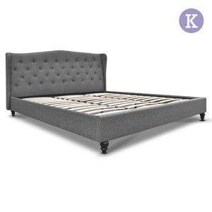 Artiss King Size Wooden Upholstered Bed Frame Headborad - Grey