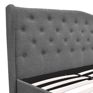 Artiss Queen Size Wooden Upholstered Bed Frame Headborad - Grey