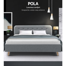 Load image into Gallery viewer, Artiss King Size Bed Frame Base Mattress Fabric Wooden Grey POLA