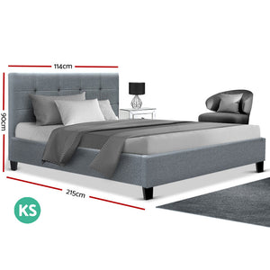 Artiss King Single Size Bed Frame Base Mattress Platform Grey Fabric Wooden SOHO