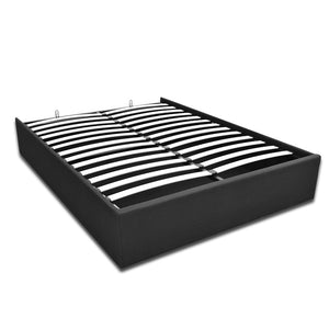Artiss TOKI Double Size Storage Gas Lift Bed Frame without Headboard Fabric Charcoal