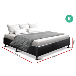 Artiss King Size Bed Base Frame Mattress Platform Leather Wooden Black TOMI