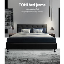 Load image into Gallery viewer, Artiss King Size Bed Base Frame Mattress Platform Leather Wooden Black TOMI