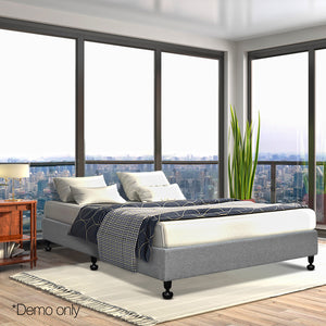 Artiss Queen Size Fabric and Wood Bed Frame - Grey