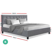 Load image into Gallery viewer, Artiss King Size Bed Frame Base Mattress Platform Fabric Wooden Grey VANKE