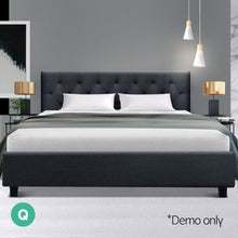 Load image into Gallery viewer, Artiss Queen Size Bed Frame Base Mattress Fabric Wooden Charcoal VANKE