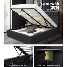 Load image into Gallery viewer, Artiss Double Full Size Gas Lift Bed Frame Charcoal Fabric Base With Storage Mattress