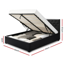 Load image into Gallery viewer, Artiss Queen Size Gas Lift Bed Frame Base Mattress Platform Leather Wooden Black WARE
