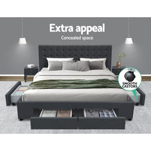 Load image into Gallery viewer, Artiss King Size Fabric Bed Frame Headboard with Drawers  - Charcoal