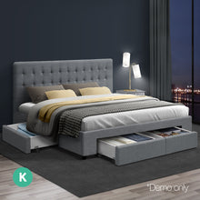 Load image into Gallery viewer, KING Bed Frame with 4 Storage Drawers AVIO Fabric Headboard Wooden