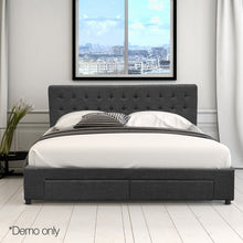 Load image into Gallery viewer, Artiss Queen Size Fabric Bed Frame Headboard with Drawers  - Charcoal
