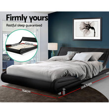 Load image into Gallery viewer, Artiss Double Size Bed Frame Base Mattress Platform Black Leather Wooden FLIO