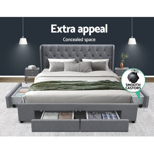 Artiss King Size Bed Frame Base Mattress With Storage Drawer Grey Fabric MILA