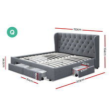 Load image into Gallery viewer, Artiss Queen Size Bed Frame Base Mattress With Storage Drawer Grey Fabric MILA