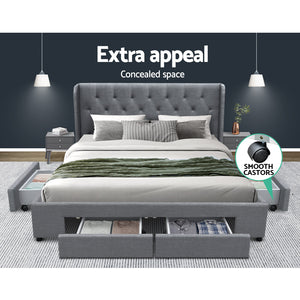 Artiss Queen Size Bed Frame Base Mattress With Storage Drawer Grey Fabric MILA