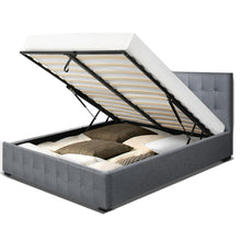 Load image into Gallery viewer, Artiss ROCA Double Full Size Gas Lift Bed Frame Base With Storage Mattress Grey Fabric
