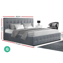 Load image into Gallery viewer, Artiss ROCA Queen Size Gas Lift Bed Frame Base With Storage Mattress Grey Fabric