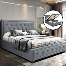 Load image into Gallery viewer, Artiss Bed Frame Double Full Size Gas Lift Base With Storage Grey Fabric TIYO