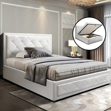 Load image into Gallery viewer, Artiss TIYO King Single Size Gas Lift Bed Frame Base With Storage Mattress White Leather